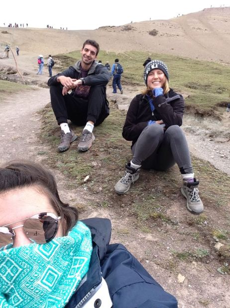 rainbow mountain Peru hiking friends travel